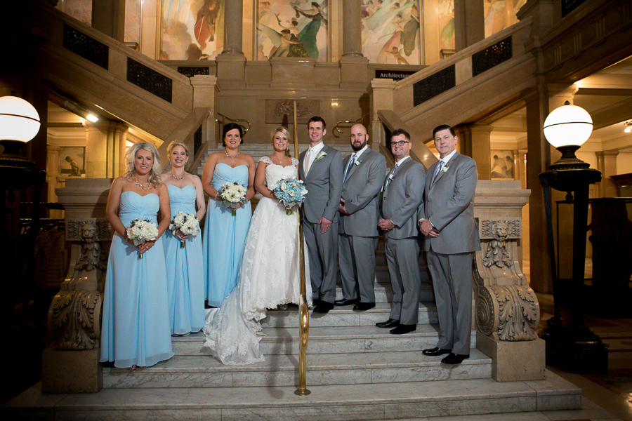 Bridal Party in Light Blue and Gray Suits at the Carnegie Museum Grand Staircase
