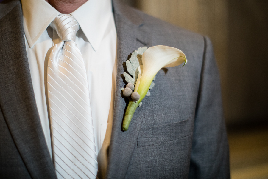Winter Boutonniere by Gidas, White Calla Lily with Dusty Miller
