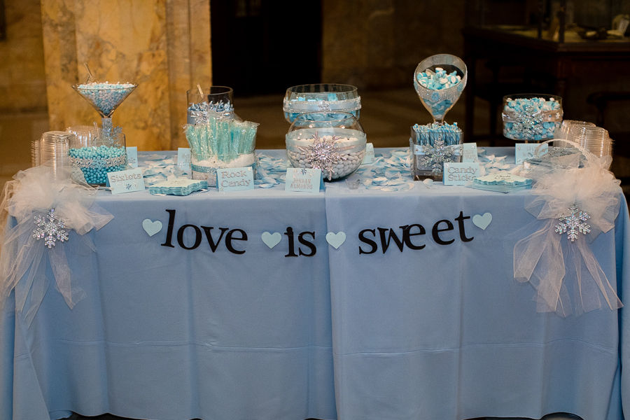 Wedding Reception Candy Table with Light Blue LInens