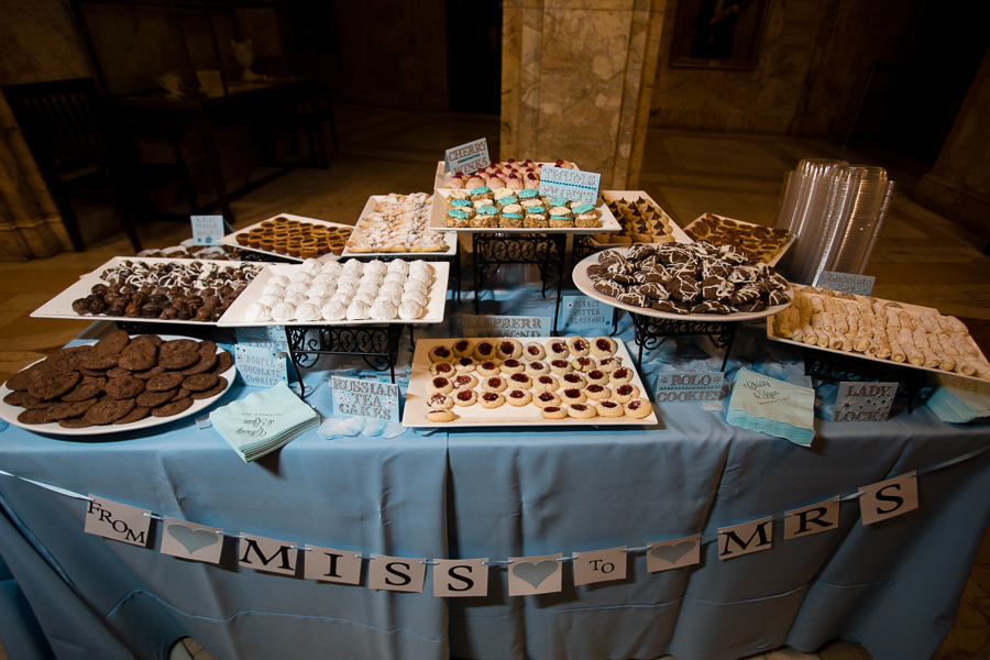 Wedding Reception Cookie Table with Light Blue LInens