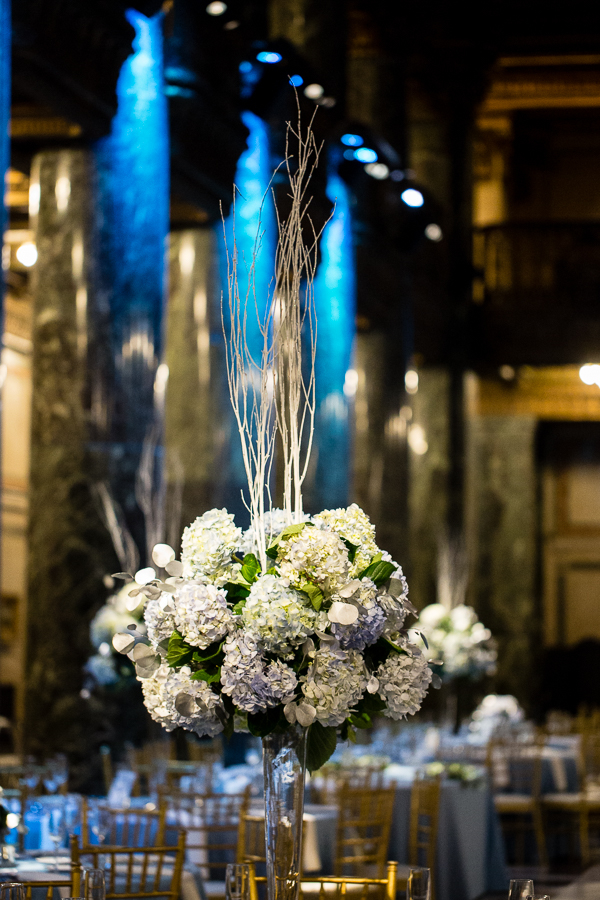 Blue and White Hydrangea Centerpiece for Winter Wedding by Gidas at Carnegie Music Hall Foyer