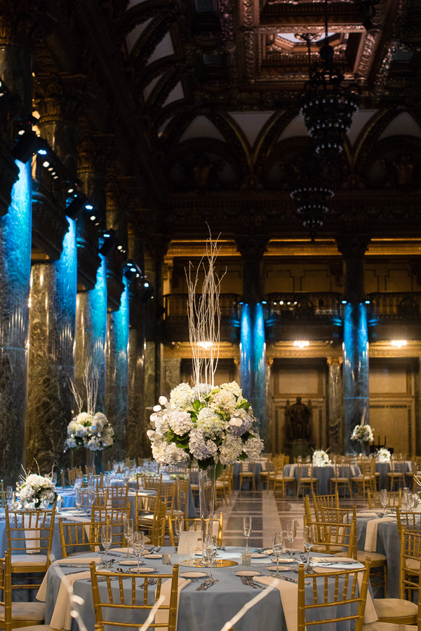Blue White Winter Wedding with Blue Uplighting Carnegie Music Hall Foyer