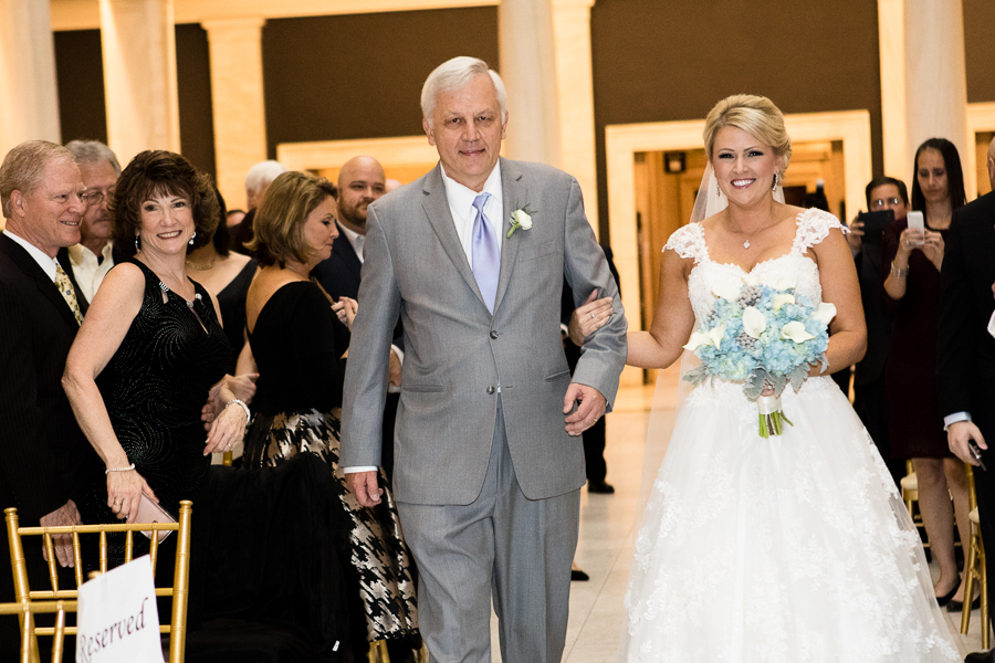 Wedding Processional with Beautiful Bride and her Father at Hall of Sculpture Carnegie Museum Pittsburgh