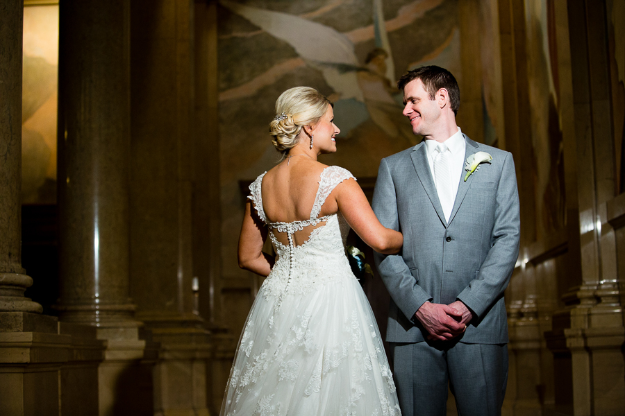 Elegant Wedding Portrait at the Carnegie Museum Pittsburgh, Bride in Justin Alexander Gown and Groom in Gray Suit
