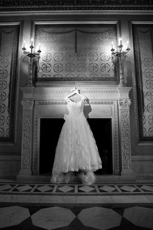 Wedding Dress Hanging in the Founders Room at the Carnegie Museum Founders Room