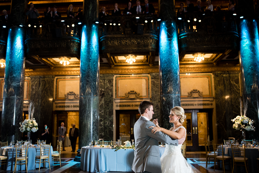 Bride and Groom First Dance at the Carnegie Music Hall Foyer Pittsburgh