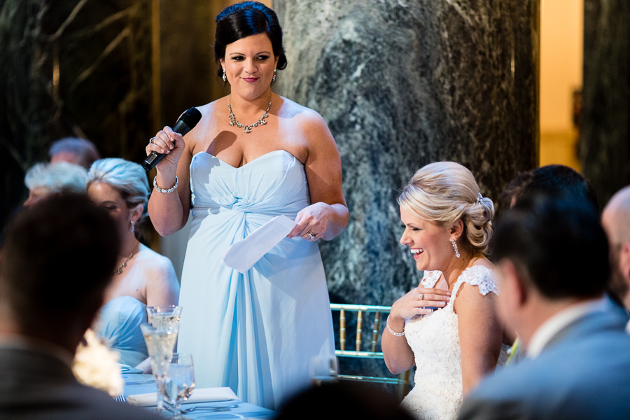 Matron of Honor gives a toast to her sister the bride