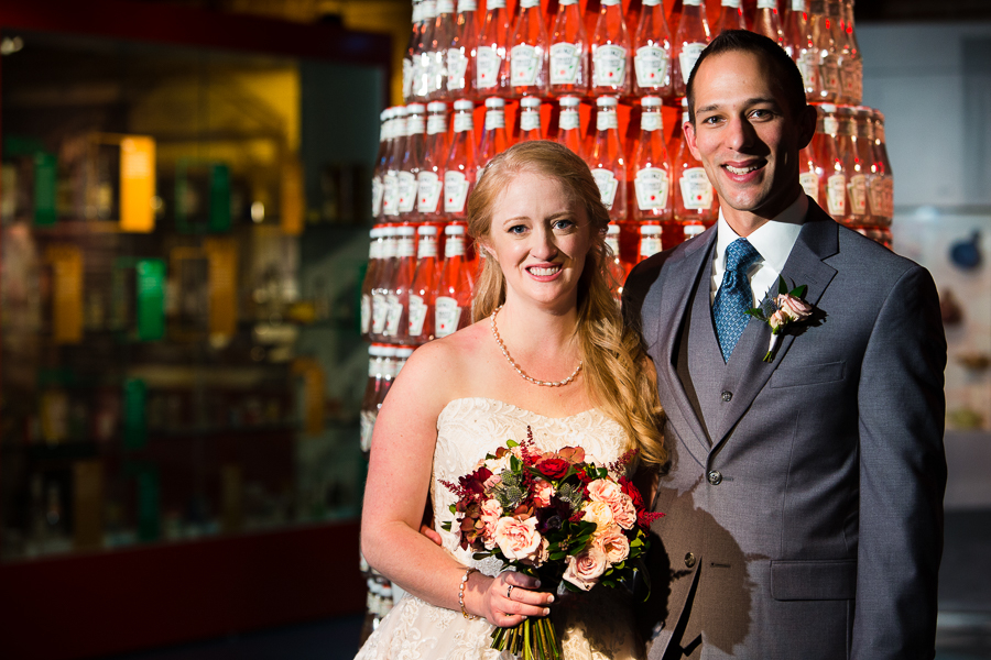 Bride and Groom in front of Heinz Ketchup Bottle Display at Heinz History Center