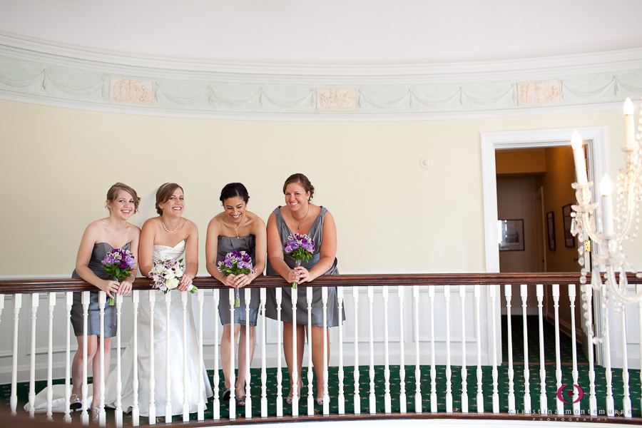 Bride and Bridesmaids in Gray Dresses at Edgeworth Club, Sewickley