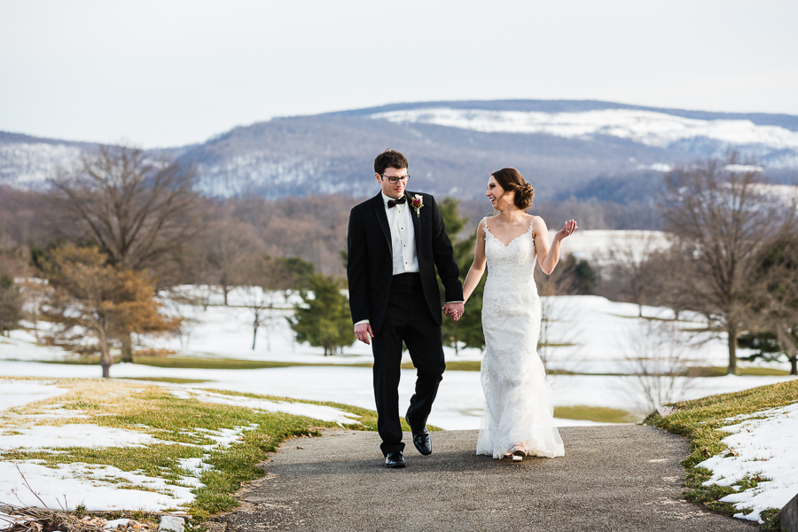 Bride and Groom Portrait at Chestnut Ridge Golf Resort Wedding