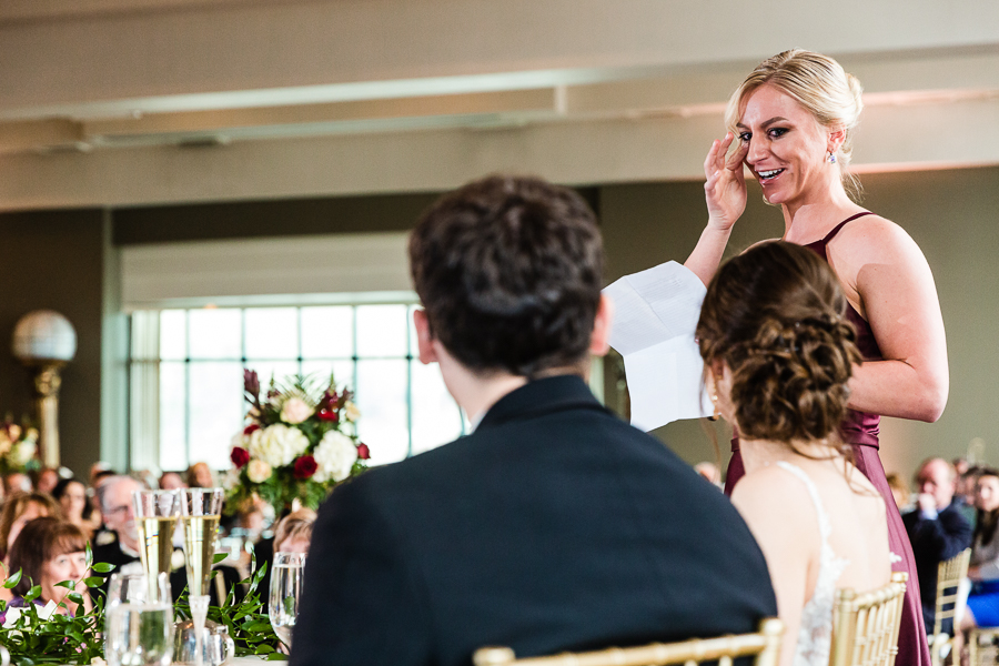 Maid of Honor Wipes a Tear during her Speech at Chestnut Ridge Golf Resort