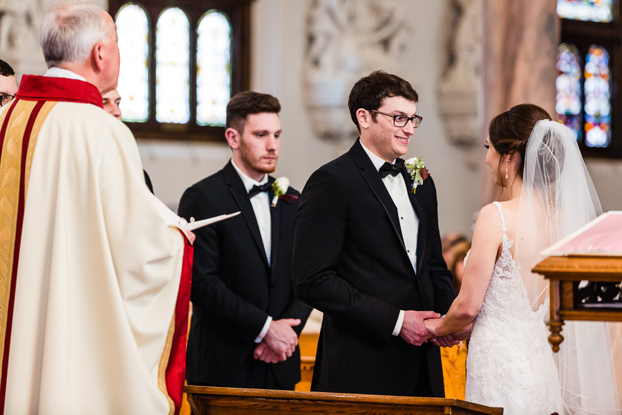 Bride and Groom Saying their Vows at Seton Hill University Wedding