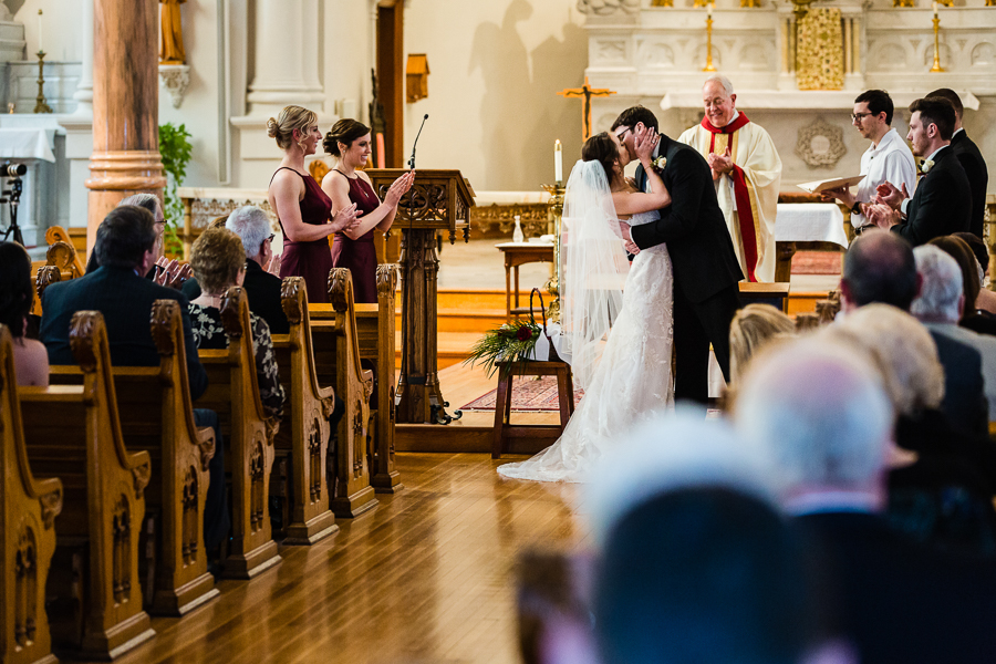 Bride and Groom First Kiss at Seton Hill University Wedding