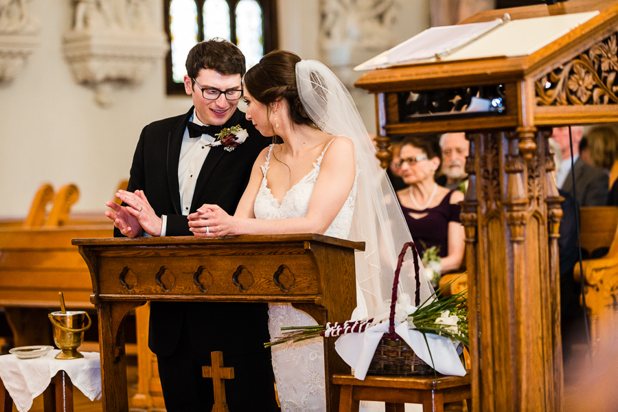 Bride and Groom Sharing a Moment at their Seton Hill University Wedding