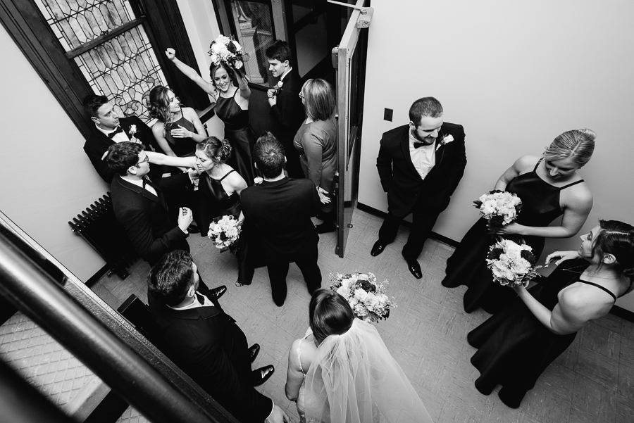 Candid Emotional Bridal Party after Wedding