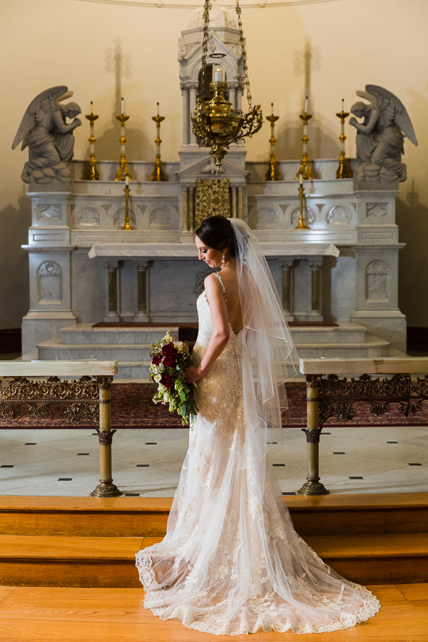 Beautifully Lit Classic Bridal Portrait on the Altar of St. Joseph Chapel