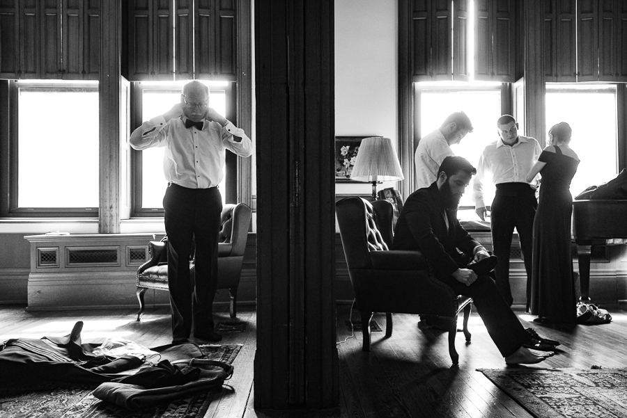 Groom and Groomsmen Getting Ready Seton Hill University Wedding Photography-2