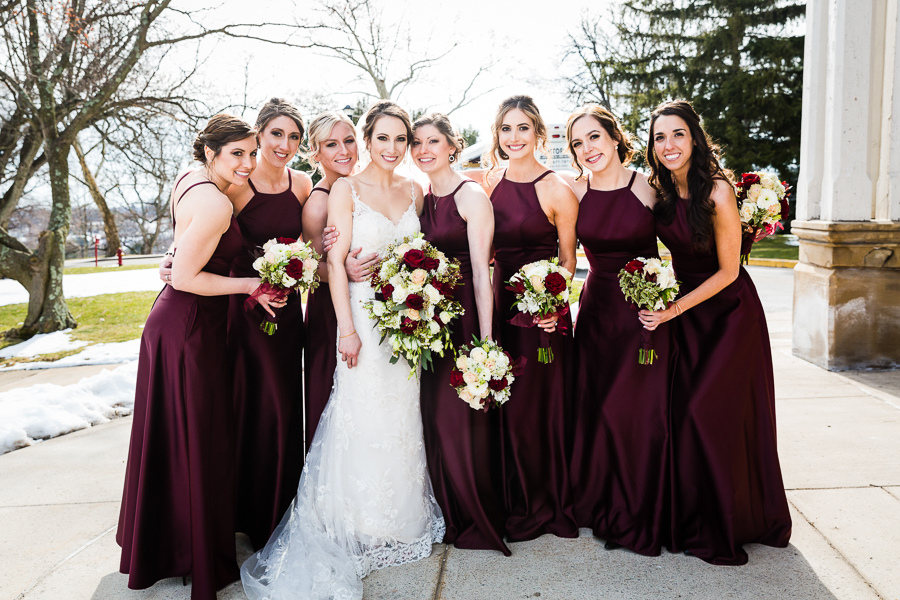 Bride and Bridesmaids at March Seton Hill University Wedding