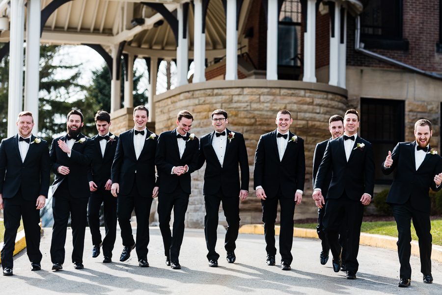 Groom and Groomsmen at Seton Hill University Wedding in March