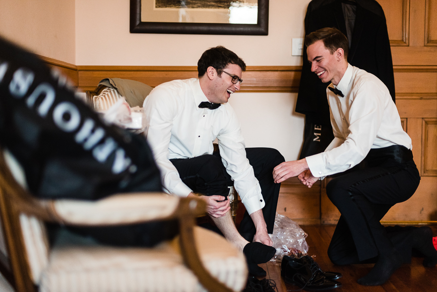 Groom and Groomsman Laughing at Seton Hill University