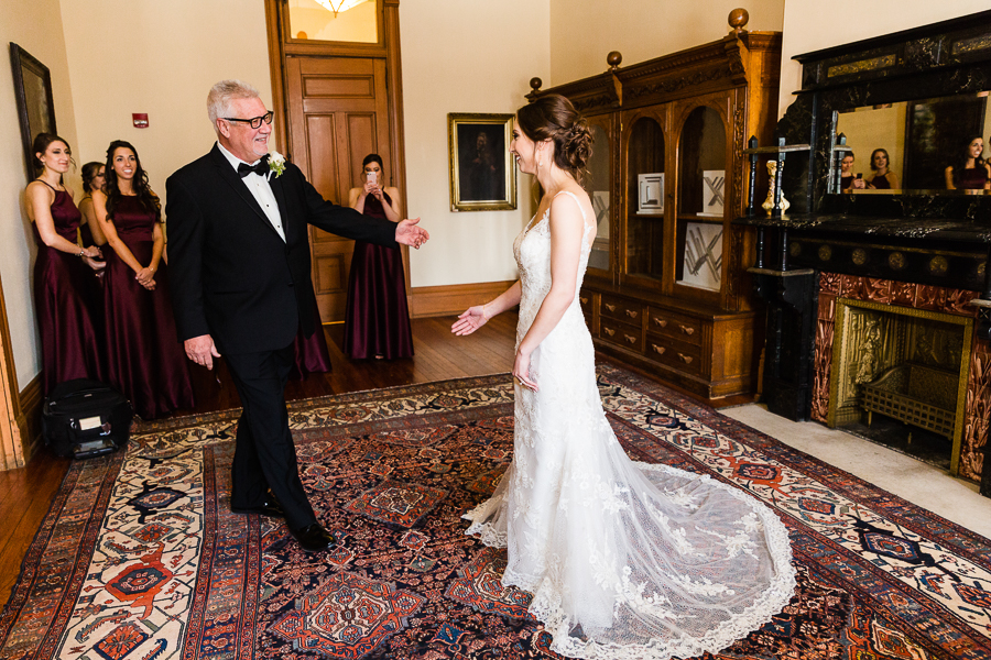 Bride Greets Her Father Before her Wedding at Seton Hill University