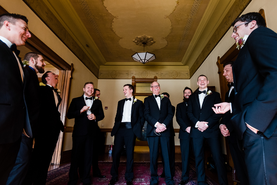 Groom and Groomsmen Laughing at Saint Joseph Chapel Seton Hill University