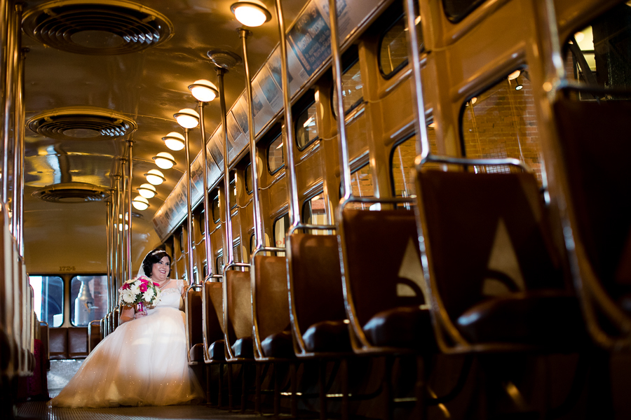 Bride in the Trolley at Heinz History Center Wedding