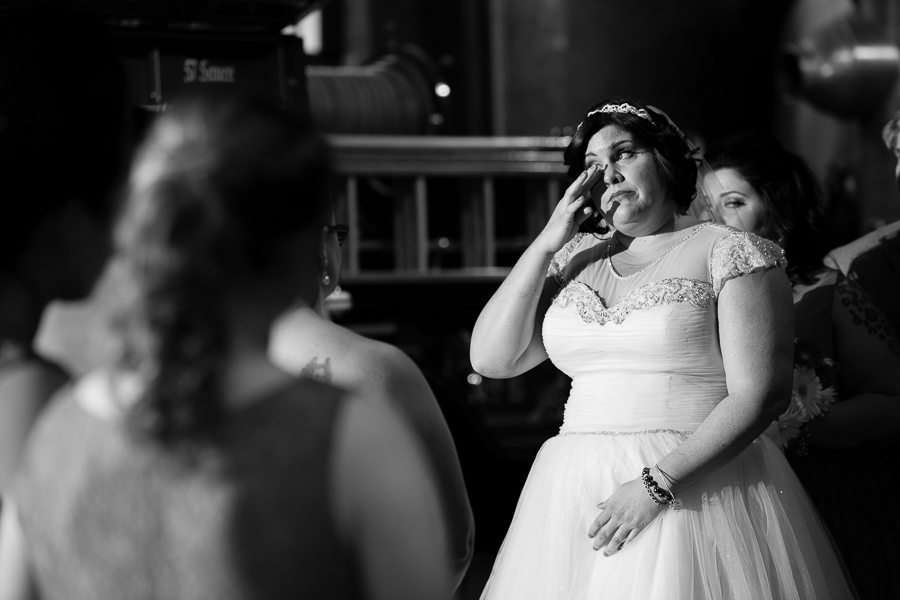 Bride Wipes a Tear During Her Wedding Ceremony at the Heinz History Center
