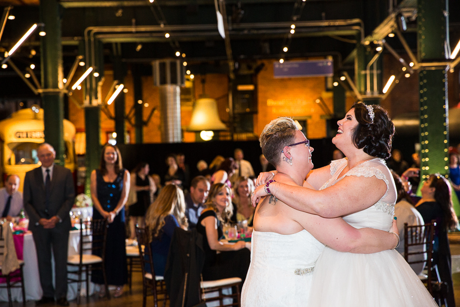 Brides Enjoying their first dance in the Great Hall at the Heinz History Center