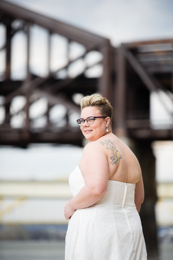Short Haired Bride with Glasses by the Railroad Bridge in Pittsburgh