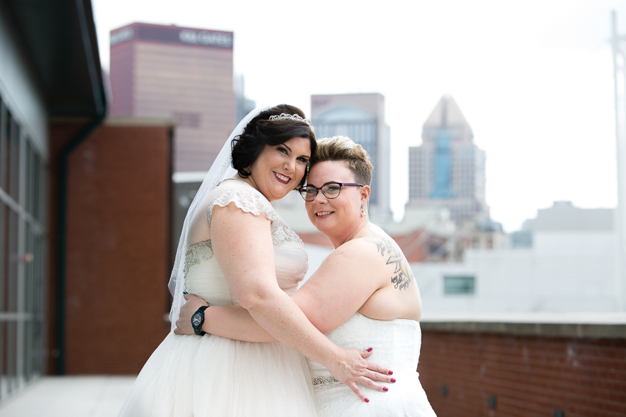 Brides on the 5th floor balcony at the Heinz History Center