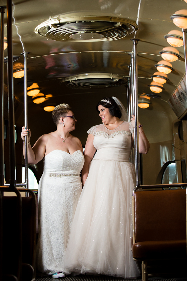 Brides in the Trolley at their Heinz History Center Wedding-8