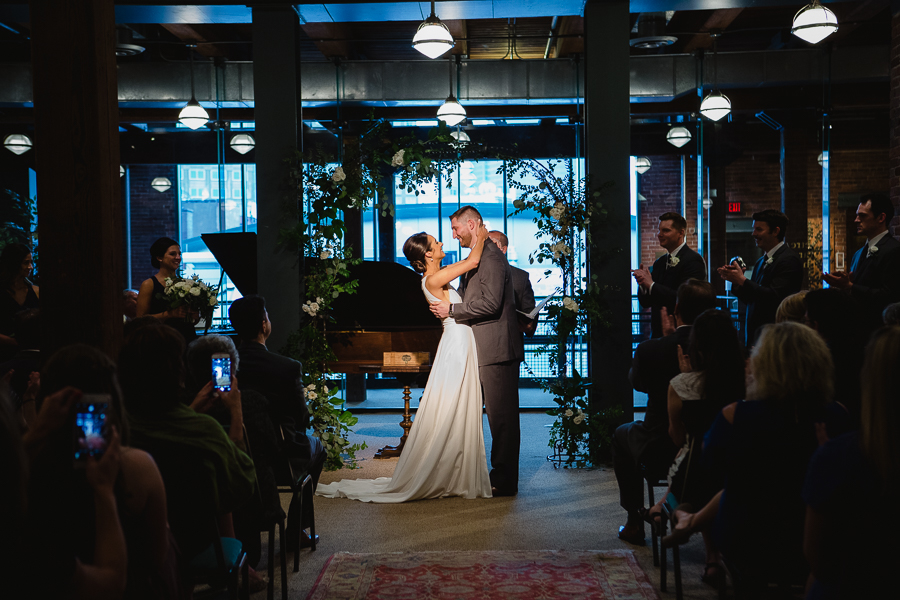 Bride and Groom First Kiss at Heinz History Center Library