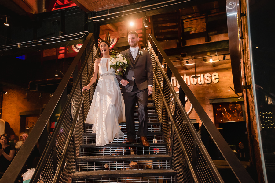 Bride and Groom Wedding Reception Entrance down Staircase at Heinz History Center Great Hall