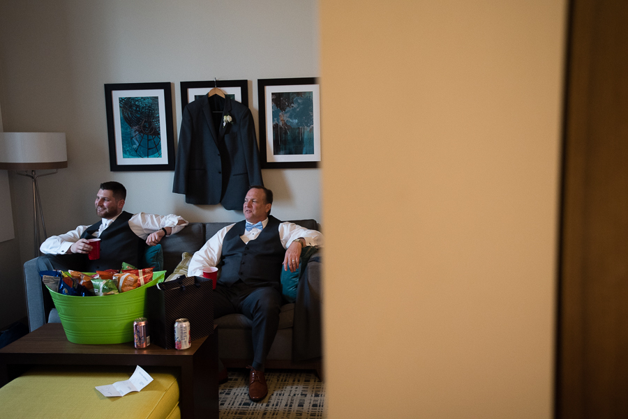 Groom and his father at their hotel before the wedding