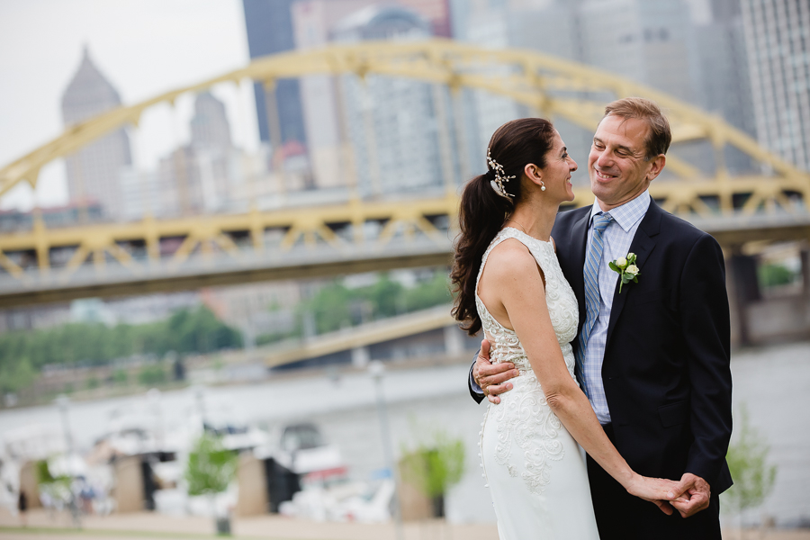 Bride and Groom on Pittsburgh's North Shore