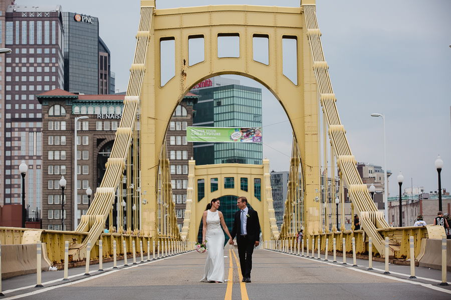 Bride and Groom on Roberto Clemente Bridge Pittsburgh