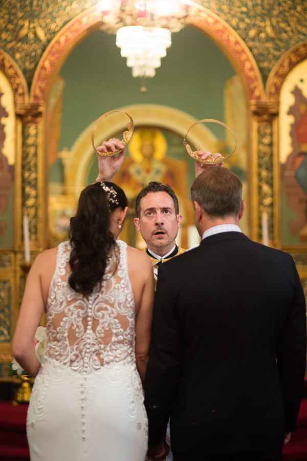 Bride and Groom with Crowns at Greek Orthodox Wedding