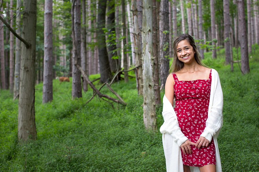 Pittsburgh Senior Photography North Park Woods on Red Blue Trail Tall White Pine Trees
