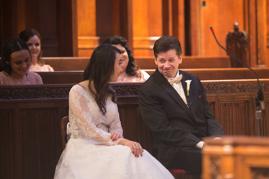 Bride and Groom at Heinz Chapel wedding ceremony
