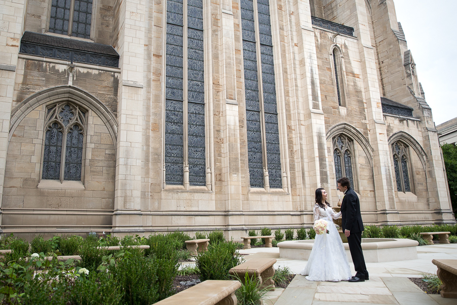 Bride and groom in the Heinz Memorial Chapel formal garden