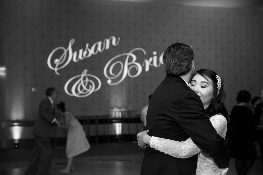 Bride and Groom at the end of Fairmont Pittsburgh Hotel Wedding Reception