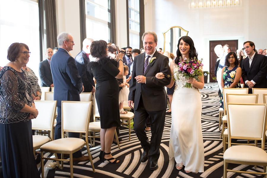 Bride Walking Down the Aisle at Kimpton Hotel Monaco Pittsburgh Wedding
