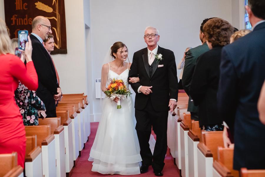 Bride and her Dad Walking into Wedding Ceremony