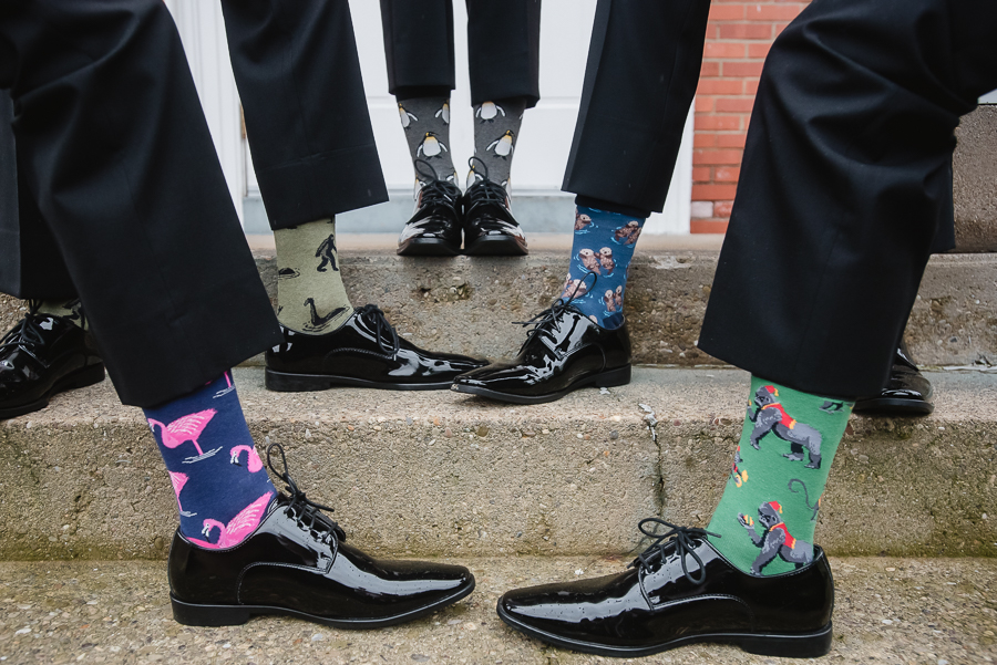 Groom and Groomsmen with fun animal socks