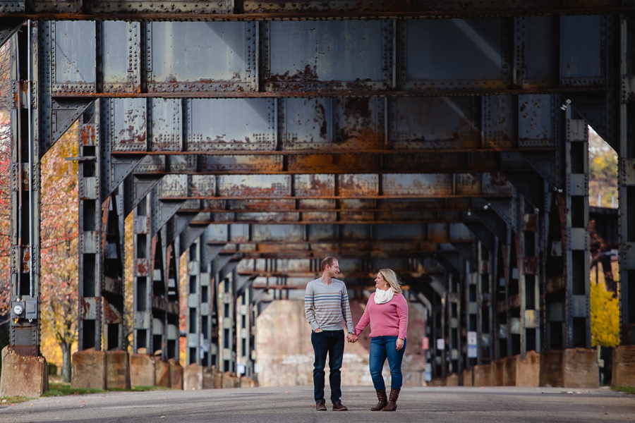 Strip District Engagement Photos Pittsburgh Railroad Bridge