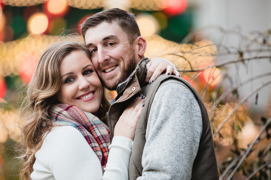 Engagement photos with Christmas lights in downtown Pittsburgh
