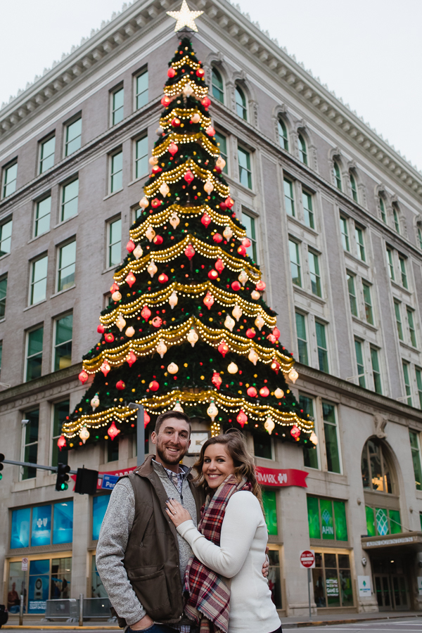 Engagement photos in front of Horne Building in Downtown Pittsburgh