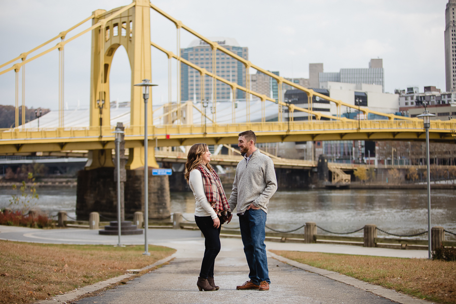 Engagement Session with the Andy Warhol Bridge in the background