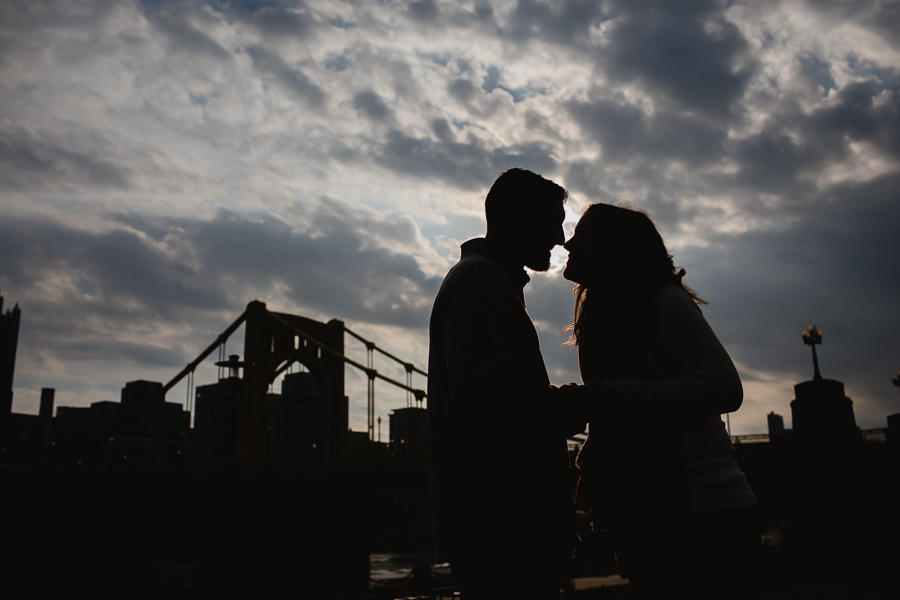 Silhouette of Engaged Couple by Roberto Clemente Bridge Pittsburgh